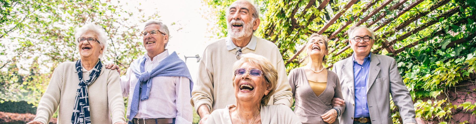 senior people laughing together